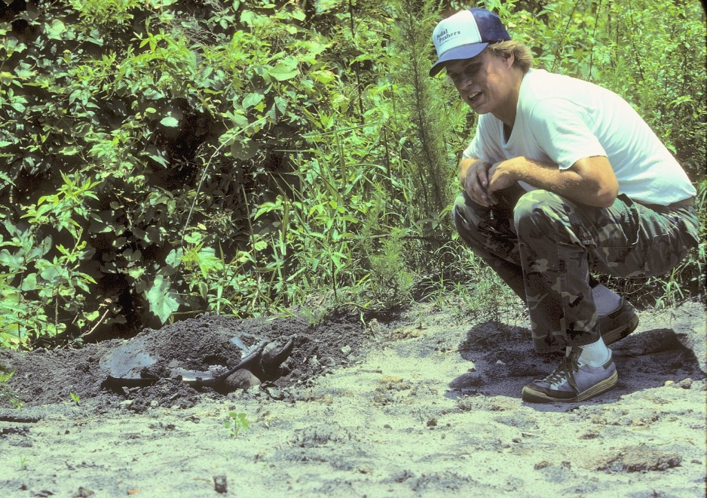 Craig Hieber and a nesting soft-shelled turtle we found on one of our outings.